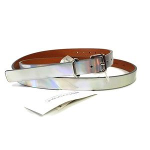 NWT Banana Republic M Silver Iridescent Thin Belt